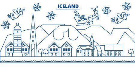 フラットスタイルのイラストでサンタクロースとアイスランドの冬の街のスカイライン。