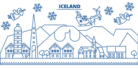 Iceland winter city skyline with Santa Claus in flat style illustration. Illustration