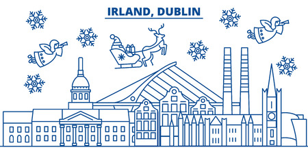 Irland, Dublin winter city skyline. Merry Christmas, Happy New Year decorated banner with Santa Claus.Winter greeting line card.Flat, outline vector. Linear christmas snow illustration Illustration