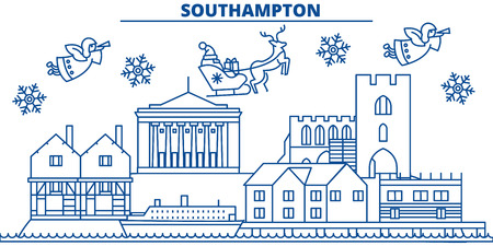 Great Britain, Southampton winter city skyline with Santa Claus in flat style illustration.