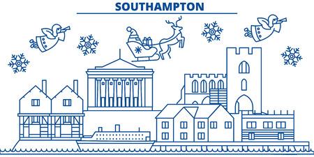Winter-Stadtskyline Großbritanniens, Southampton mit Santa Claus in der flachen Artillustration. Standard-Bild - 91356916