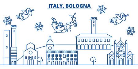 イタリア、ボローニャの冬の街のスカイライン。メリークリスマス、ハッピーニューイヤーはサンタクロース.冬のグリーティングラインカードでバ