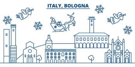 Italy, Bologna winter city skyline. Merry Christmas, Happy New Year decorated banner with Santa Claus.Winter greeting line card.Flat, outline vector. Linear christmas snow illustration