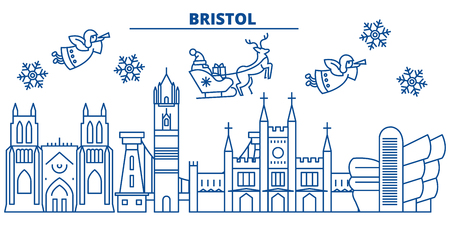 Great Britain, Bristol winter city skyline with Santa Claus in flat style illustration. Illustration