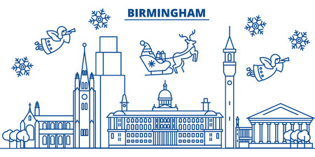 Great Britain, Birmingham winter city skyline with Santa Claus in flat style illustration.