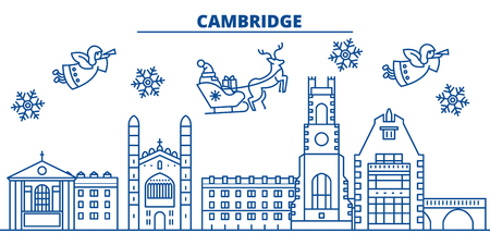Great Britain, Cambridge winter city skyline. Merry Christmas, Happy New Year decorated banner with Santa Claus.Winter greeting line card.Flat, outline vector. Linear christmas snow illustration