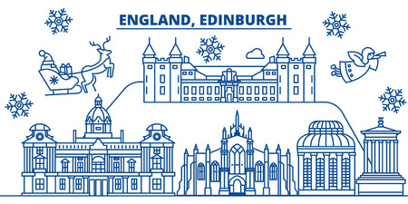 Great Britain, Edinburgh winter city skyline. Merry Christmas, Happy New Year decorated banner with Santa Claus.Winter greeting line card.Flat, outline vector. Linear christmas snow illustration Vettoriali