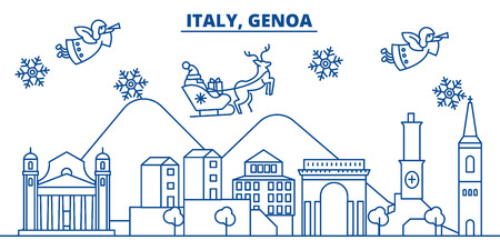 Italy, Genoa winter city skyline with Santa Claus in flat style illustration.