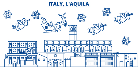 Italy, LAquila winter city skyline with Santa Claus in flat style illustration.