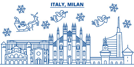 Italy, Milan winter city skyline. Merry Christmas, Happy New Year decorated banner with Santa Claus.Winter greeting line card.Flat, outline vector. Linear christmas snow illustration