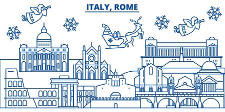 Stadt-Skyline Italiens, Rom-Winter mit Santa Claus in der flachen Artillustration. Standard-Bild - 91357257