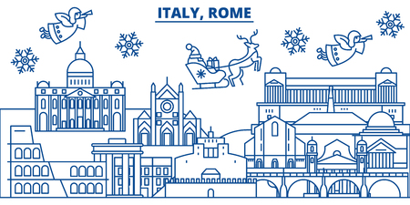 Italy, Rome winter city skyline with Santa Claus in flat style illustration.
