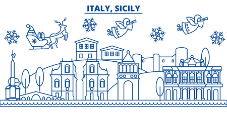 Italy, Sicily winter city skyline. Merry Christmas, Happy New Year decorated banner with Santa Claus.Winter greeting line card.Flat, outline vector. Linear christmas snow illustration