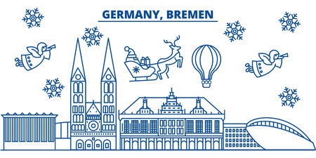 Germany, Bremen winter city skyline. Merry Christmas, Happy New Year decorated banner with Santa Claus.Winter greeting line card.Flat, outline vector. Linear christmas snow illustration
