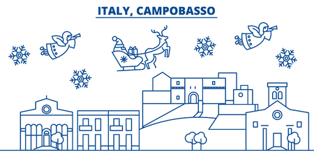 Italy, Campobasso winter city skyline with Santa Claus in flat style illustration. Ilustração