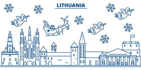 フラットスタイルのイラストでサンタクロースとリトアニアの冬の街のスカイライン。