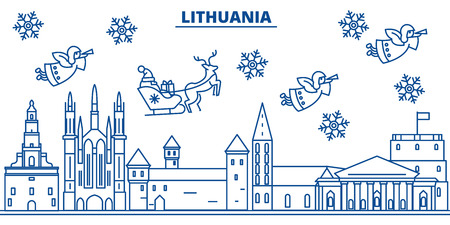 Lithuania winter city skyline with Santa Claus in flat style illustration.