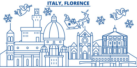Italy, Florence winter city skyline. Merry Christmas, Happy New Year decorated banner with Santa Claus.Winter greeting line card.Flat, outline vector. Linear christmas snow illustration