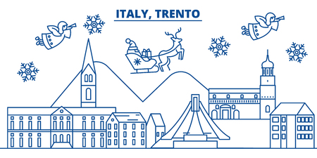 Italy, Trento winter city skyline with Santa Claus in flat style illustration. Ilustração
