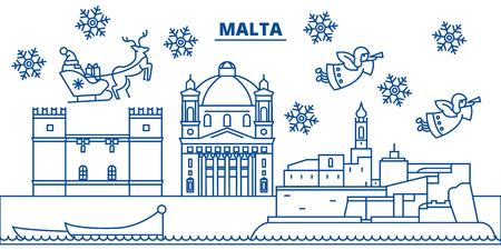 몰타 겨울 도시의 스카이 라인. 메리 크리스마스, 해피 뉴가 어 산타 클로스와 배너를 장식. 인사말 라인 card.Flat, 개요 벡터. 선형 크리스마스 눈 일러