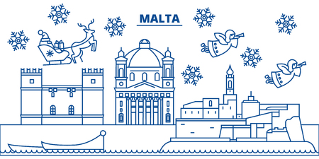 Malta winter city skyline. Merry Christmas, Happy New Year decorated banner with Santa Claus.Winter greeting line card.Flat, outline vector. Linear christmas snow illustration