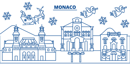 Monaco winter city skyline with Santa Claus in flat style illustration. Ilustração