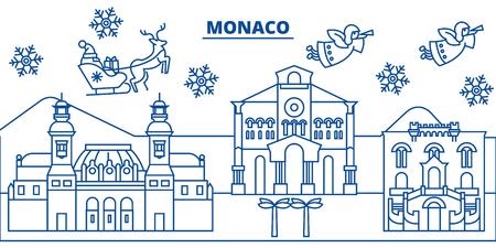Monaco winter city skyline with Santa Claus in flat style illustration. Illustration