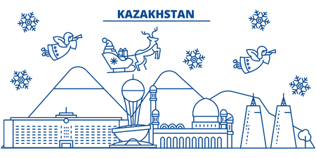 Kazakhstan winter city skyline with Santa Claus in flat style illustration.