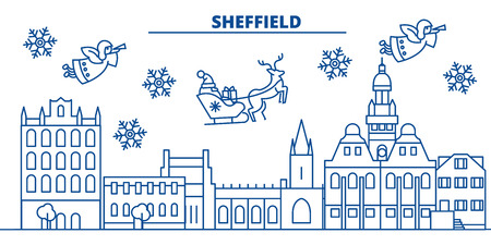 Great Britain, Sheffield winter city skyline. Merry Christmas, Happy New Year decorated banner with Santa Claus.Winter greeting line card.Flat, outline vector. Linear christmas snow illustration