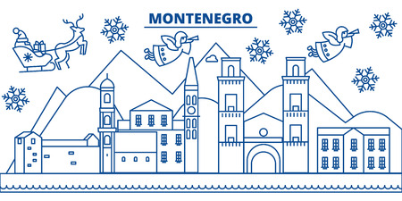 Montenegro winter city skyline with Santa Claus in flat style illustration.