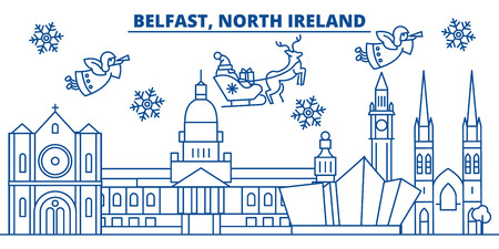 North Ireland, Belfast winter city skyline with Santa Claus in flat style illustration.