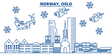 Norway, Oslo winter city skyline. Merry Christmas, Happy New Year decorated banner with Santa Claus.Winter greeting line card.Flat, outline vector. Linear christmas snow illustration Illustration