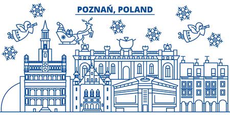 폴란드, 포즈 난 플랫 스타일 그림에서 산타 클로스와 겨울 도시의 스카이 라인. 일러스트