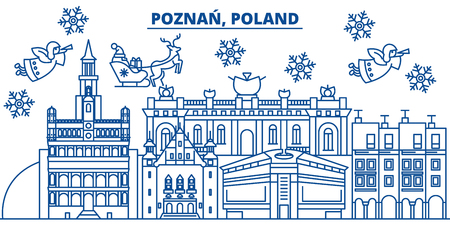 Poland, Poznan winter city skyline with Santa Claus in flat style illustration. 向量圖像