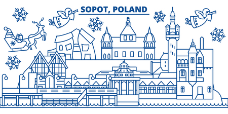 Poland, Sopot winter city skyline. Merry Christmas, Happy New Year decorated banner with Santa Claus.Winter greeting line card.Flat, outline vector. Linear christmas snow illustration Ilustrace