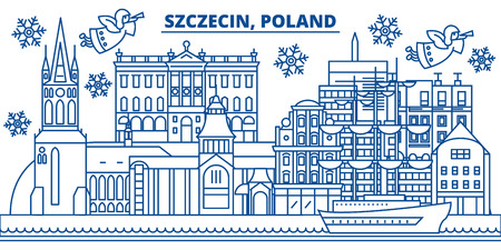 Poland, Szczecin winter city skyline with Santa Claus in flat style illustration.