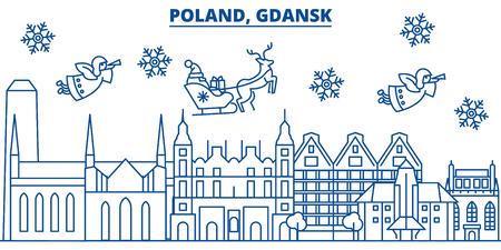 폴란드, 그단스크 겨울 도시의 스카이 라인 플랫 스타일 그림에서 산타 클로스와 함께.