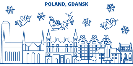 Poland, Gdansk winter city skyline with Santa Claus in flat style illustration.