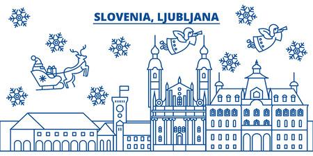 Slovénie, toits de la ville hiver Ljubljana. Joyeux Noël, bonne année décoré bannière avec Santa Claus. Carte de ligne de voeux hiver. Plat, vecteur de contour. Illustration de neige de Noël linéaire Banque d'images - 91358838