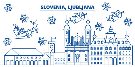 Slovenia, Ljubljana winter city skyline. Merry Christmas, Happy New Year decorated banner with Santa Claus.Winter greeting line card.Flat, outline vector. Linear christmas snow illustration Çizim