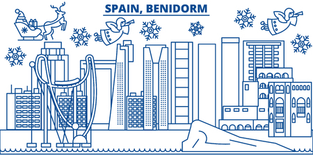 Spain, Benidorm winter city skyline. Merry Christmas, Happy New Year decorated banner with Santa Claus.Winter greeting line card.Flat, outline vector. Linear christmas snow illustration