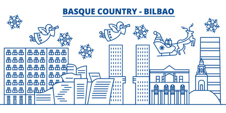 Spain, Bilbao, Basque Country winter city skyline. Merry Christmas, Happy New Year decorated banner with Santa Claus.Winter greeting line card.Flat, outline vector. Linear christmas snow illustration