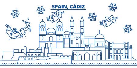 スペイン、カディス冬の街のスカイライン。メリークリスマス、ハッピーニューイヤーはサンタクロース.冬のグリーティングラインカードでバナーを飾りました。フラット、アウトラインベクトル。線形クリスマス雪のイラスト 写真素材 - 91359532