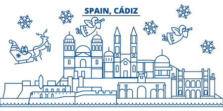 Spain, Cadiz winter city skyline. Merry Christmas, Happy New Year decorated banner with Santa Claus.Winter greeting line card.Flat, outline vector. Linear christmas snow illustration
