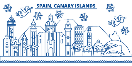 Spain, Canary Islands winter city skyline. Merry Christmas, Happy New Year decorated banner with Santa Claus.Winter greeting line card.Flat, outline vector. Linear christmas snow illustration