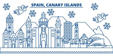 Spanje, Canarische eilanden skyline van de winter stad. Vrolijke Kerstmis, Gelukkig Nieuwjaar verfraaide banner met Santa Claus. De lijnkaart van de de wintergroet Vlakke, overzichtsvector. Lineaire kerst sneeuw illustratie