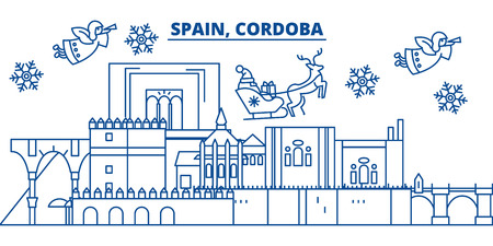 Spain, Cordoba winter city skyline. Merry Christmas, Happy New Year decorated banner with Santa Claus.Winter greeting line card.Flat, outline vector. Linear christmas snow illustration