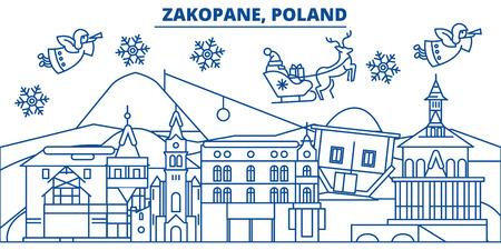 Poland, Zakopane winter city skyline. Merry Christmas, Happy New Year decorated banner with Santa Claus.Winter greeting line card.Flat, outline vector. Linear christmas snow illustration Ilustrace