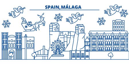 Spain, Malaga, Andalusia winter city skyline. Merry Christmas, Happy New Year decorated banner with Santa Claus.Winter greeting line card.Flat, outline vector. Linear christmas snow illustration