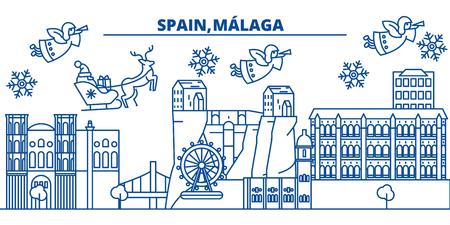 Spanje, Malaga, Andalusië skyline van de winter stad. Vrolijke Kerstmis, Gelukkig Nieuwjaar verfraaide banner met Santa Claus. De lijnkaart van de de wintergroet Vlakke, overzichtsvector. Lineaire kerst sneeuw illustratie